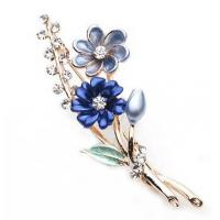 Wholesale Beautiful Girl Design Silver Fashion Jewelry Blue Flower Crystal Brooch from china suppliers