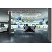 Wholesale Glass art exhibition sales store center by white stand and wall cabinet in LED light glossy from china suppliers
