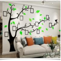 China high quality acrylic picture frame memory tree decoration wall poster living room sofa restaurant crystal 3D wall sticke on sale