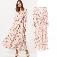 China custom make new arrival style rose print long dress for woman on sale