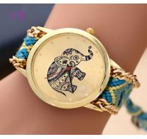 Buy cheap New Brand Handmade Braided Elephant Bracelet Watch GENEVA Watch Ladies Quarzt from wholesalers