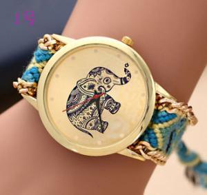 Buy cheap New Brand Handmade Braided Elephant Bracelet Watch GENEVA Watch Ladies Quarzt Watches relogio feminino from wholesalers