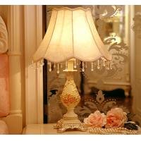 China Resin base fabric lampshade soft light elegance crystal lace Bedside table lamp LX106 on sale