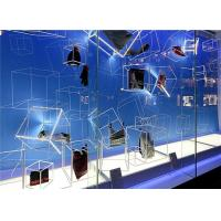 China Sport Shoe Window Display , Square See Tube Sidling Props Shoe Shop Window Displays With LED on sale
