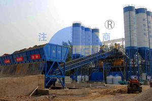 Wholesale HZS180 Twin Shaft Mixer Belt Type Concrete Batching Plant Automatic High Efficiency from china suppliers
