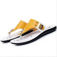 Wholesale Handmade Mens Leather Slipper Shoes , Round Toe Mens Beach Flip Flops from china suppliers