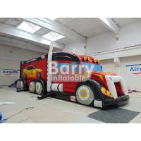 Wholesale Outdoor Giant Attractive Red Inflatable Fire Truck Bouncy Obstacle Course from china suppliers