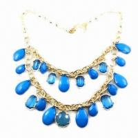 Buy cheap Fashionable Necklace with Gold Plating and Blue Resin Decoration from wholesalers