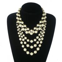 Wholesale Fashion 5 Layers Gold Chain Pearl Necklace Choker Beads Necklace Accessories from china suppliers