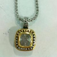 Wholesale (N-66) Fashion Jewelry Two tone Silver Plated White Cubic Zircon Pendant Necklace from china suppliers