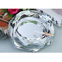 China Clear Crystal Decoration Crafts / Ashtray With Cigar Holders Custom Size Accpeted on sale