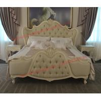 Wholesale Exquisite Fabric Padding Headboard with Solid Wood Bed in Ivory White Painting from china suppliers