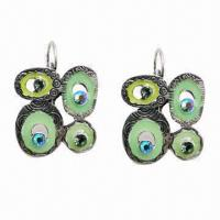 Wholesale Fashionable Drop Earrings, Green Enamel and Blue Rhinestone Decorated from china suppliers