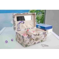 Wholesale Pink Fabric Jewelry Box L25*W16*H13CM , Watch Storage Box With Lock And Mirror from china suppliers