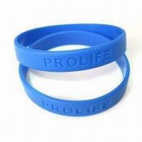 Wholesale Debossed Bracelet, Made of 100% Silicone, Logo Can be Customized by Printing or Embossing from china suppliers
