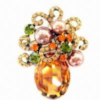 Wholesale Delicate Metal Brooch with Shining Stones and Pearl from china suppliers