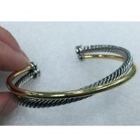 Wholesale (B-61)Fashoin Women Designer Jewelry Two Tone Gold Silver Plated Cossover Cuff Bracelet from china suppliers