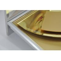 Quality Skin Care Product Advertisement Display Stands Deluxe Golden Mirror Surface Treatment for sale