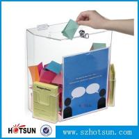 Wholesale Innovative Wall Mount Donation Box with Lock and Key, Clear Acrylic Charity Box Donation from china suppliers