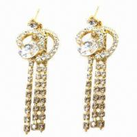 Wholesale Fashionable Stud Earrings, Tassels Rhinestone Chain Decorated from china suppliers