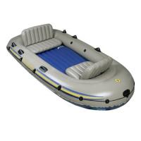 China 4 Person Excursion PVC Inflatable Boat With 2 Fishing Rod , 4 Set Oars on sale