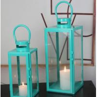 Wholesale blue color set of 2 glass metal square candle Lantern Garden Night Wedding Outdoor Tea Light Decor from china suppliers