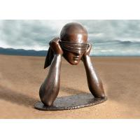 Wholesale Contemporary Art Work Bronze Statue Blindfolded Man Head Shape Anti Corrosion from china suppliers