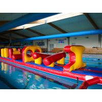 Wholesale 54 FT Long Giant Water Inflatable Obstacle Course With Slide Durable 0.9mm PVC from china suppliers