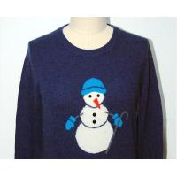 Quality Classic Royal Blue Cashmere Sweater , 100% Wool Womens Intarsia Sweater for sale