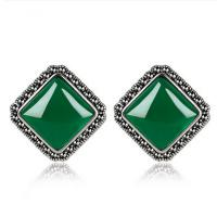Wholesale 925 Silver Green Agate Marcasite Stud Earrings Thai Vintage Jewelry (E11062) from china suppliers