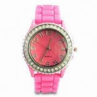 Wholesale Waterproof Silicone Wristwatch with Diamond, Customized Logos and Designs are Welcome from china suppliers