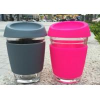 China Customize Glass Coffee Cup With Silicon Lid / Drinking Glass Cup With Silicon Case on sale