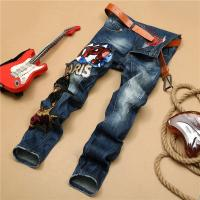 Wholesale Gothic Motor Biker Mens Tapered Jeans , Slim Punk Tattoo Rock And Roll Jeans from china suppliers