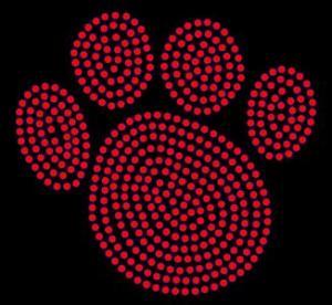 China Animal/Paw - Paw Print - Red - Rhinestone Transfer on sale