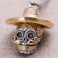 Wholesale Two Tone Silver Brass Skull Pendant Necklace for Men and Women (XH053353W) from china suppliers