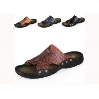 Wholesale Comfortable Summer Mens Beach Slippers , Brown / Yellow Mens Slip On Slippers from china suppliers