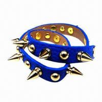 Wholesale Promotional PU Leather Punk Style/Studded Cuff Bracelets, High Polished Surface from china suppliers