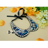Wholesale Stylish Detachable Blue Crystal Beaded Collar Necklace With Bottons from china suppliers