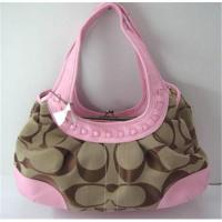 Wholesale Coach handbag hobo bag shoulder bag pink canvas with leather from china suppliers