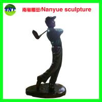 Buy cheap theme mascots character life size  golf man statues sculpture  by fiberglass bronze color for sale from wholesalers