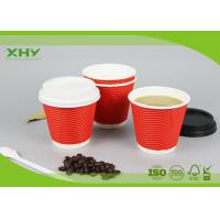 Wholesale 8oz 90mm 300ml Disposable Corrugated Heat-Insulated Ripple Wall Paper Cups with Lids from china suppliers