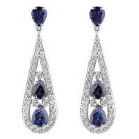 Wholesale Cubic Zirconia Blue Micro Pave Diamond ,Micro Pave Wedding Earrings from china suppliers