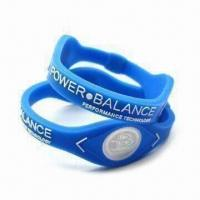 Wholesale Silicone Bracelets with Two Visible Hologram Disks, Customized Colors and Designs are Accepted from china suppliers