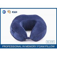 Quality Ergonomic Sleep Design Memory Foam Travel Neck Pillow With Plush Cover , Adjustable for sale