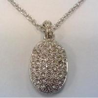Wholesale (N-76) New Style Jewelry Pave Clear Cubic Zircon Oval Charm Necklace 18 inches from china suppliers