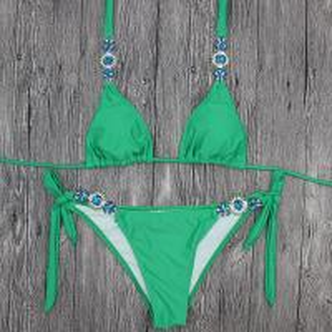 China Wholesale and Retail 2018 Women Sexy Green Diamond Triangle Bikini Set on sale