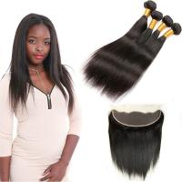 Wholesale Double - Drawn Strong Weft Indian Human Hair Bundles 13 * 4 Lace Frontal from china suppliers