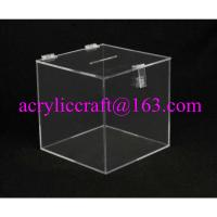 Wholesale Transparent Square Acrylic Donation Box With Lock from china suppliers