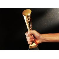 Gold Plated Polyresin Trophy Cylinder Shape Year - End Bonus For Enterprise Staff