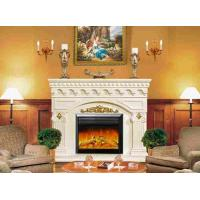 China Resin White Painted Freestanding Electric Fireplace , Flame Fireplace Heaters on sale